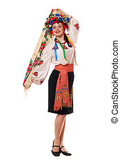 Attractive woman in the Ukrainian national clothes