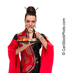Attractive woman in traditional dress with sushi