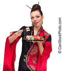 woman in traditional red dress with eastern food