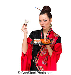 woman in traditional red dress with sushi