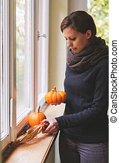 autumn window decoration