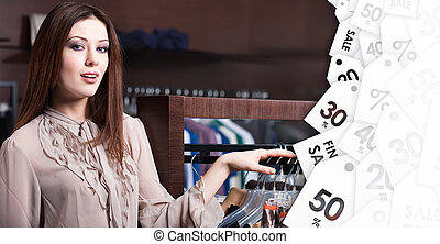 Attractive woman is in the store