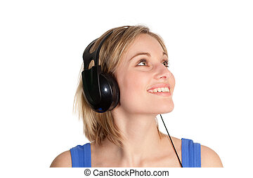 woman listening to music being happy