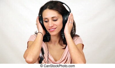 Attractive Woman Listening to Music