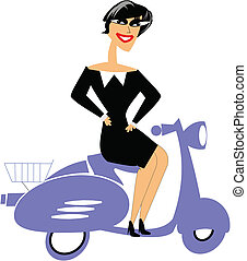 woman on scooter