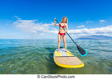 Woman on Stand Up Paddle Board - Attractive Woman on Stand ...