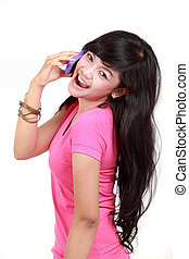 Attractive woman on the phone smiling