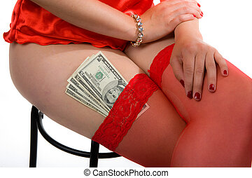 Attractive woman - A woman with money behind het stockings