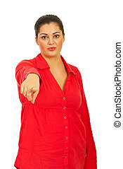 Attractive woman pointing to you
