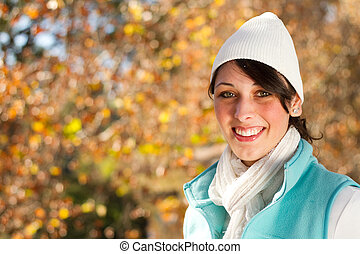 attractive woman portrait outdoors