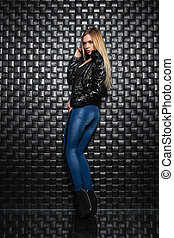 Attractive woman posing in the studio.