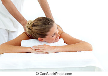 Attractive woman receiving a massage