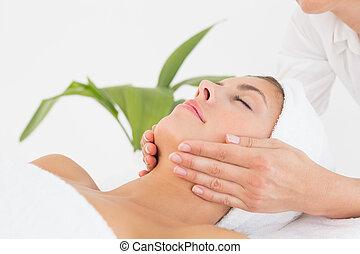 Attractive woman receiving facial massage at spa center -...
