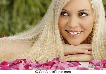 Attractive woman relaxing outdoor