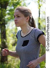 attractive woman running