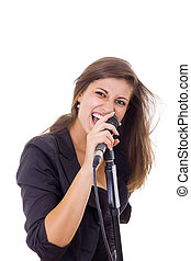 attractive woman screaming on microphone singing
