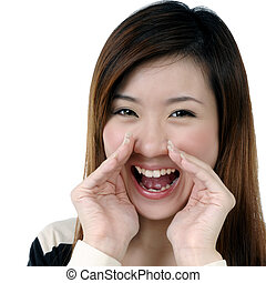 Attractive woman screaming out loud