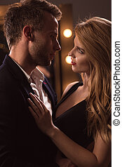 Attractive woman seducing handsome man - Picture of...