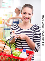Attractive woman shopping at store