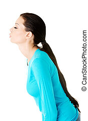Attractive woman side view.