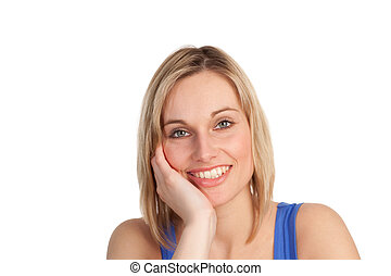 Attractive woman smiling at the camera - Pretty casually...