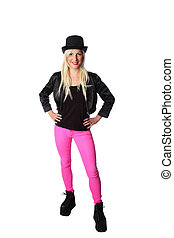Attractive woman standing in tophat