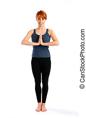 Attractive Woman Standing in Yoga Pose