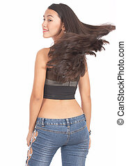 attractive woman with a beautiful windy hair