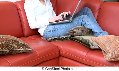 Attractive woman using a laptop