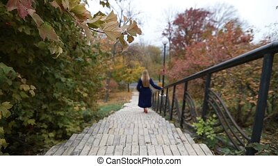 Attractive woman walking downstairs in autumn park -...