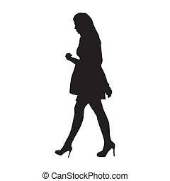 Attractive woman walking with handbag. Isolated vector silhouette