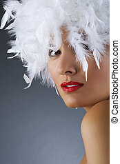 attractive woman wearing wig