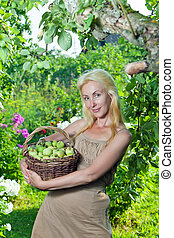 attractive woman with a basket of apples in a garden