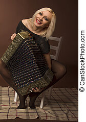 attractive woman with an accordion