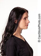 Attractive woman with black t-shirt isolated on a over white background