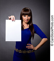 Attractive Woman with Blank Message Sign