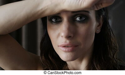 Attractive woman with closed eyes - Attractive woman with...