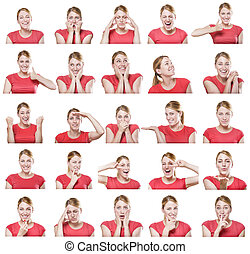 Attractive woman with different gestures and emotions. - ...