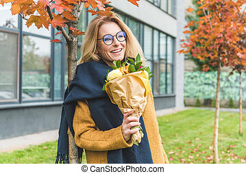 attractive woman with flowers