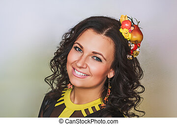 Attractive woman with fruit hairgrip