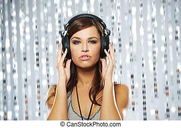 Attractive woman with headphones
