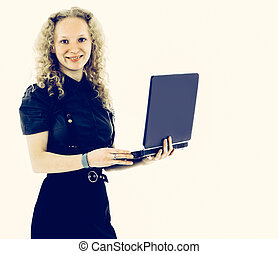attractive woman with laptop smiling isolated background on whit