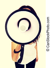 Attractive woman with megaphone.
