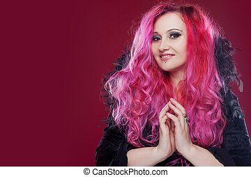 Attractive woman with pink hair. Royal collar. Nice face
