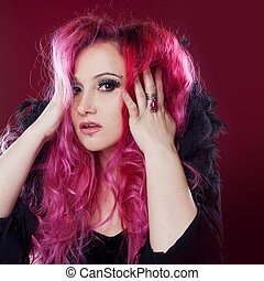 Attractive woman with pink hair. Royal collar. She's in shock
