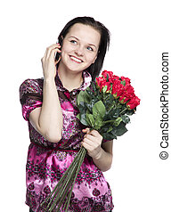 Attractive woman with red roses and phone