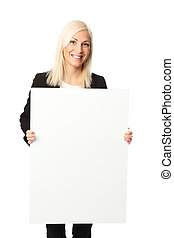 Attractive woman with sign