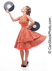 Attractive woman with vinyl disc