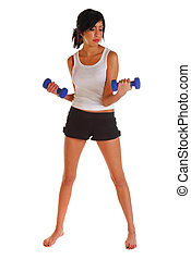 Attractive woman working out with dumb bells