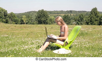 Attractive woman working outdoors